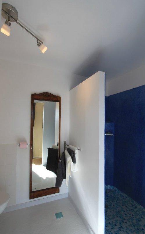 La salle de bain avec douche à l'italienne et vasque en tadelakt bleu