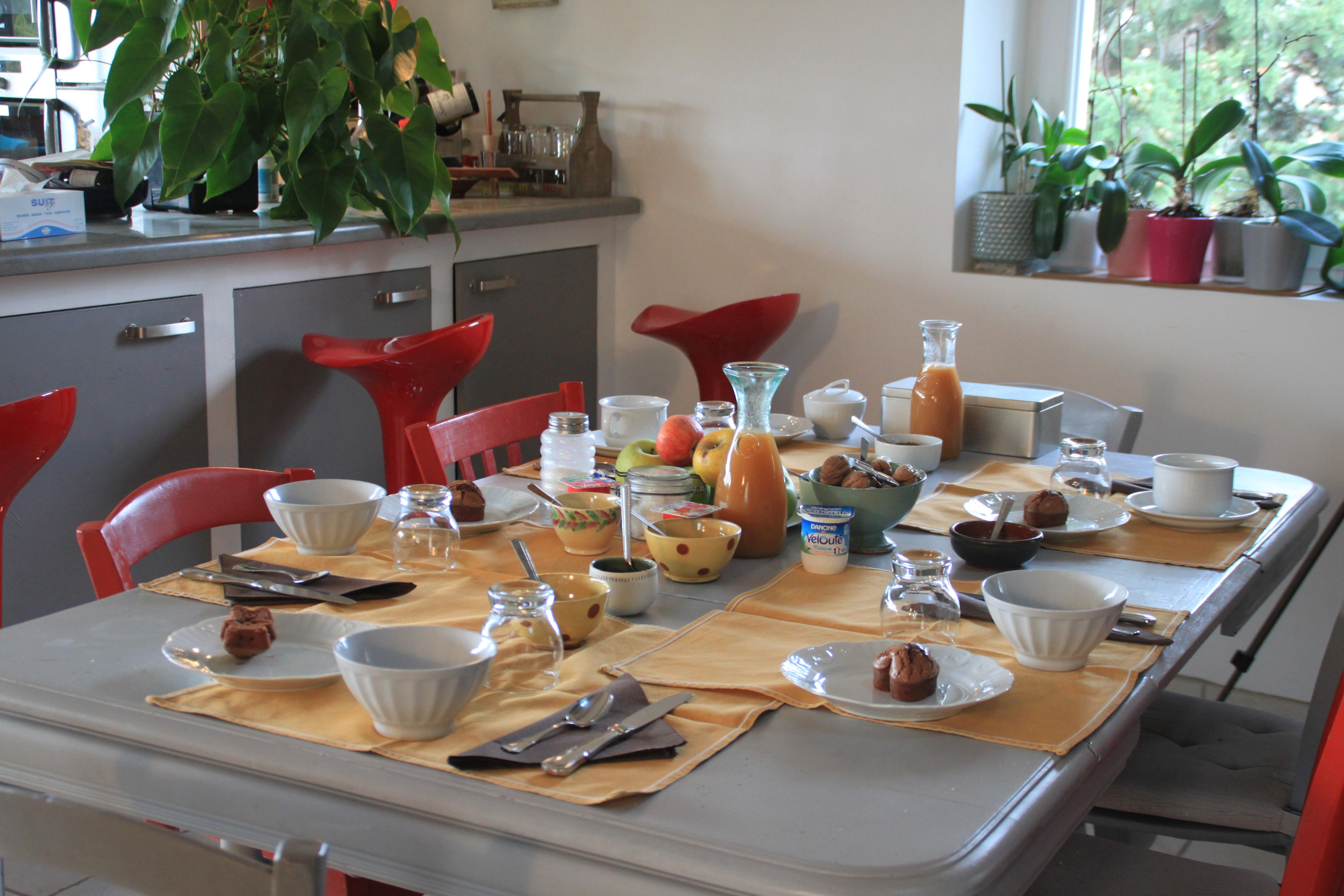 Le petits déjeuners à l'intérieur en hiver