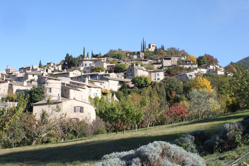vue d'ensemble depuis le vergers du Chareyron du village de Mirmande
